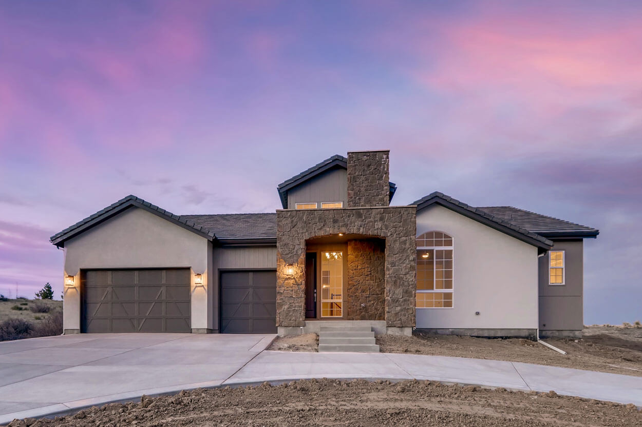 Frontyard of Ranch Style Home in Parker at Dusk