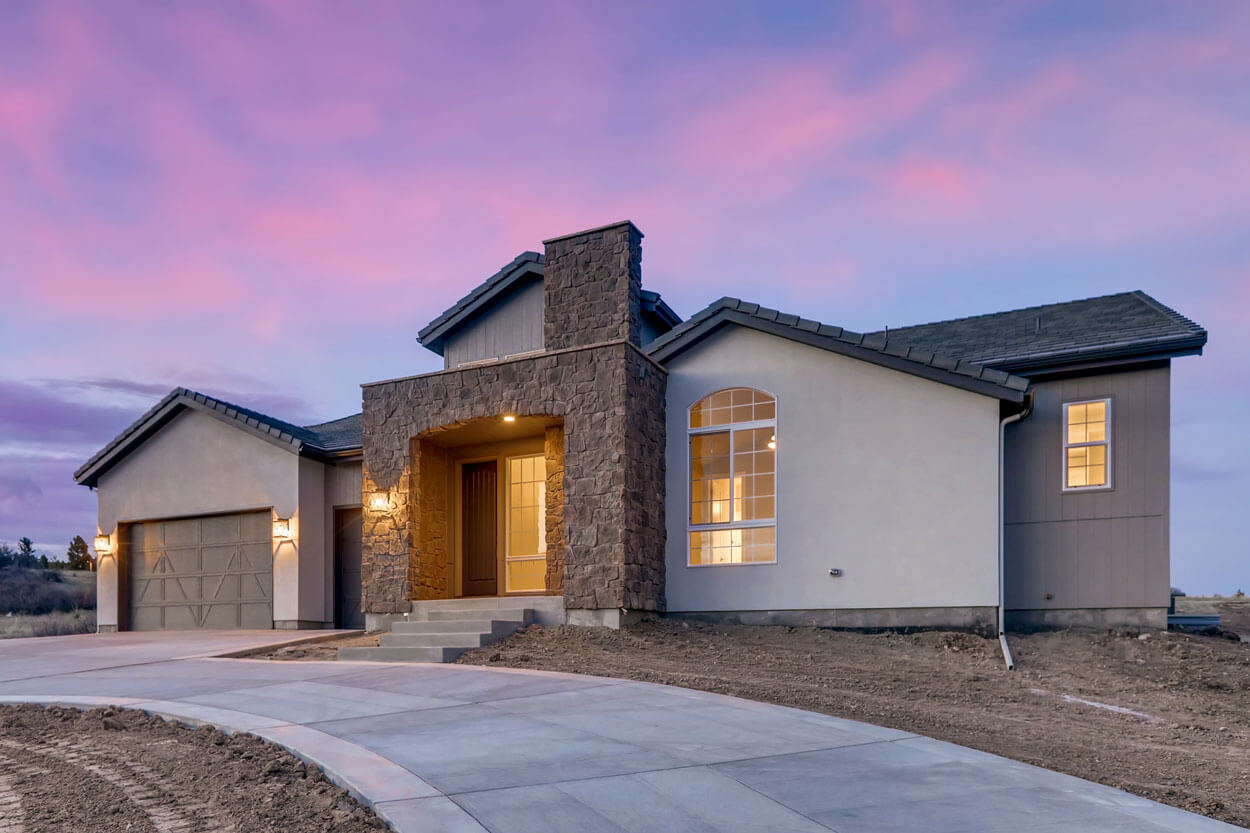 Front View of Ranch Style Home in Colorado at Dusk