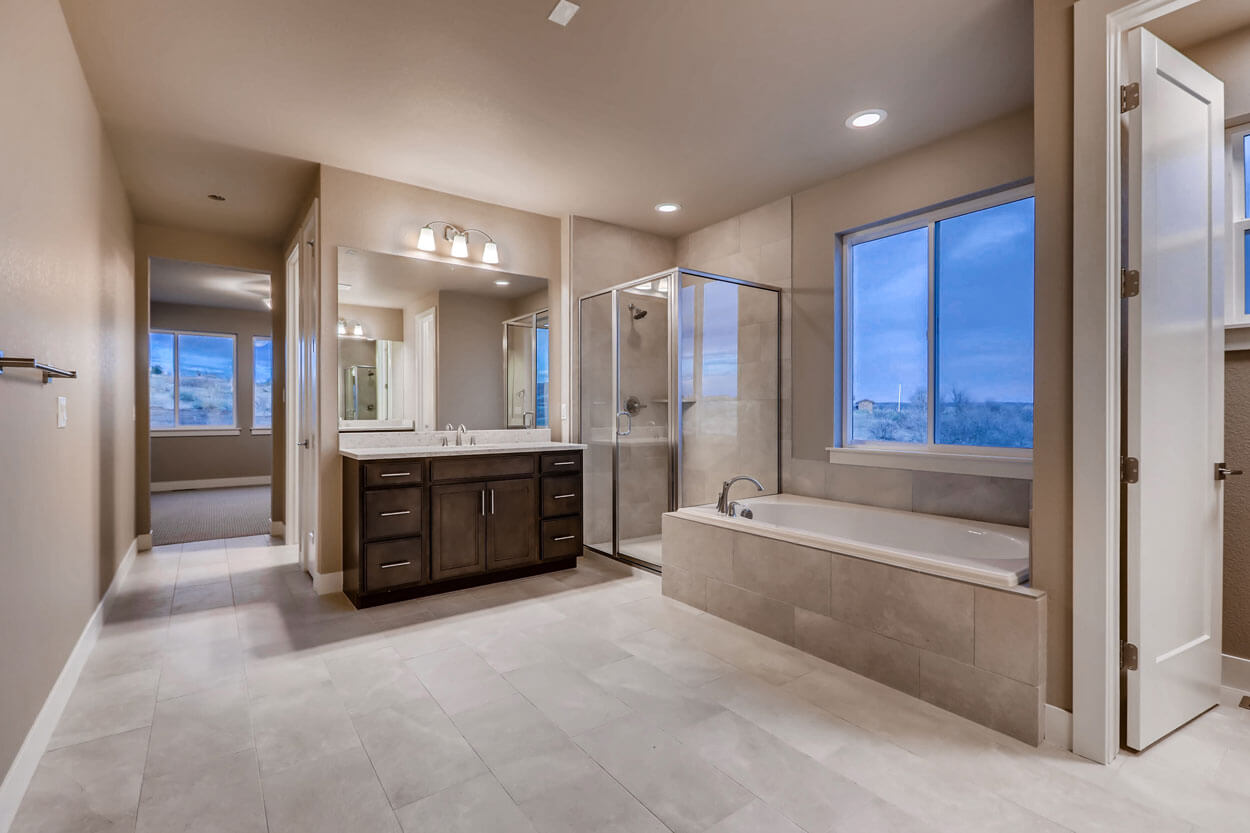 Master Bath With Shower and Tub: Ranch Style Home in Parker